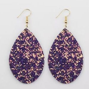 Purple sparkly tear drop earrings